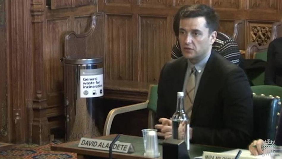 David Alandete  en el Parlamento de Reino Unido. Fuente: Youtube.