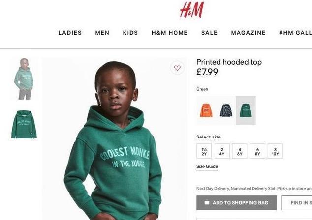 Imagen retirada por H&M tras ser considerada racista.