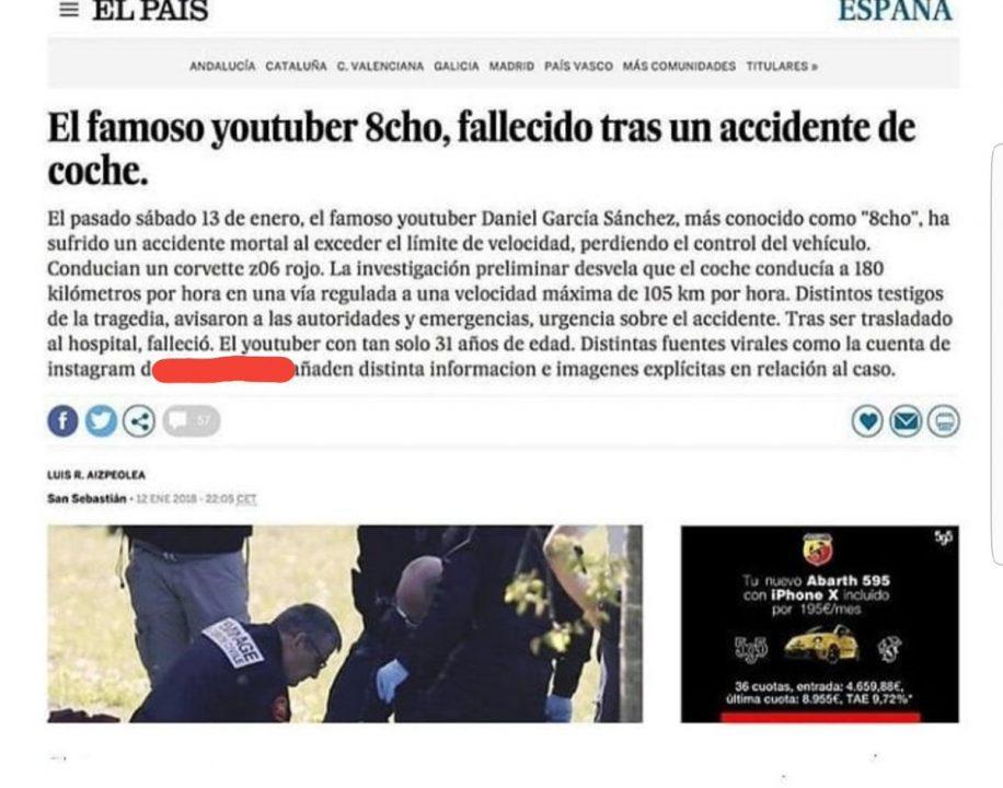 Montaje sobre una noticia del El País dada por cierta por el youtuber 8cho en Twitter.