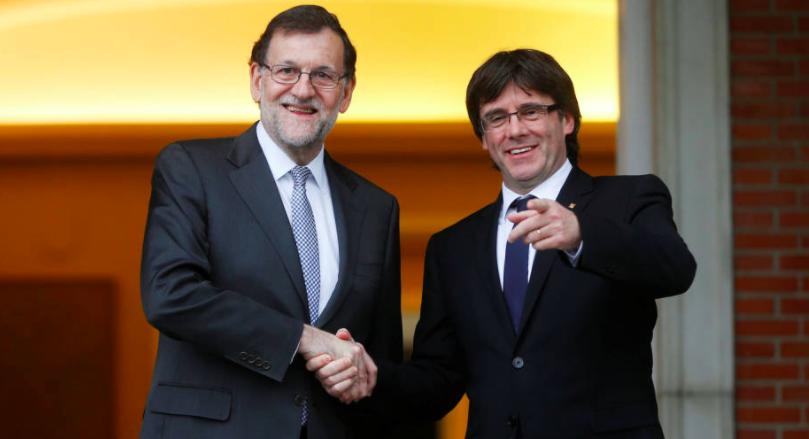 Rajoy y Puigdemont, líderes de la derecha española y catalana.