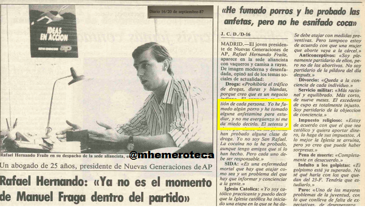 Entrevista de Rafael Hernando en Diario 16 rescatada por Maldita Hemeroteca