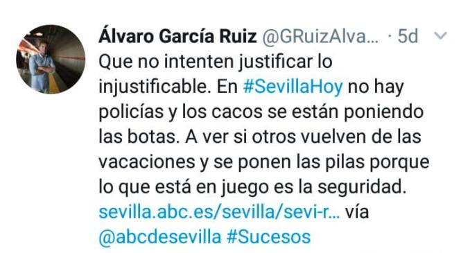 Uno de los tuits publicados por Álvaro García poco antes de ser detenido