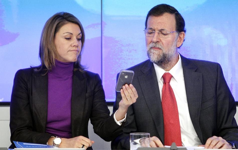 María Dolores de Cospedal y M. Rajoy, ex presidente del PP