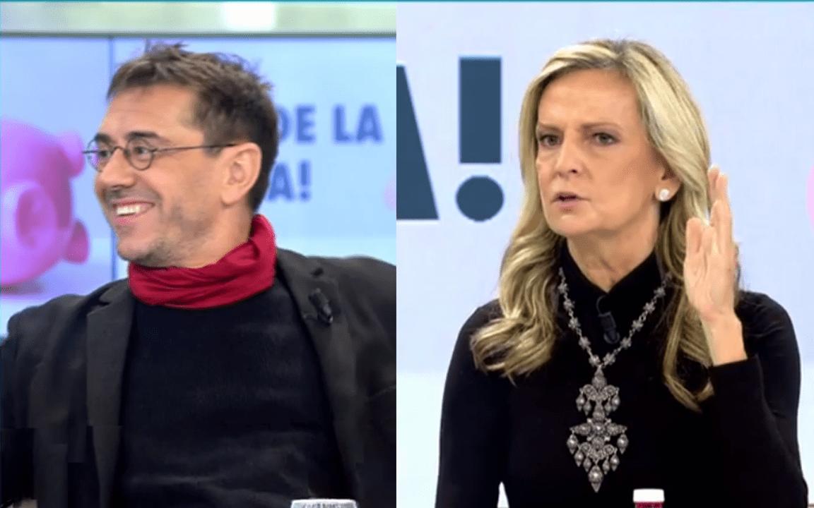 Juan Carlos Monedero e Isabel San Sebastián en Telecinco