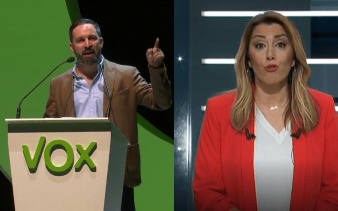 Santiago Abascal y Susana Díaz, líderes de las organizaciones VOX y PSOE-A