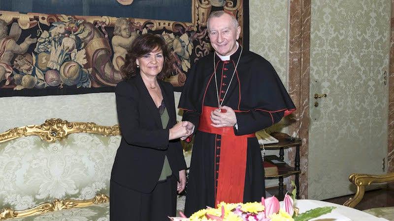 Carmen Calvo y Pietro Parolin