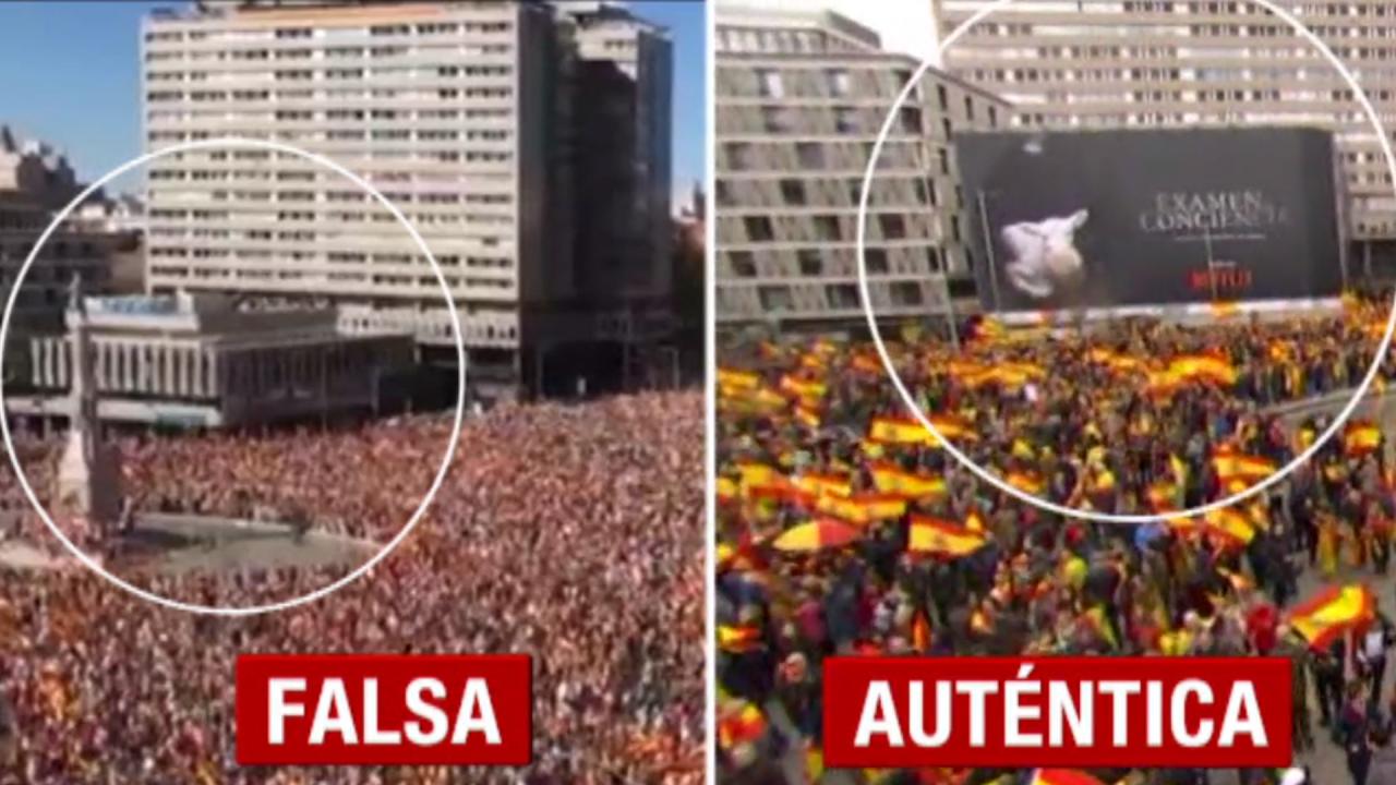 Noticias Cuatro destapa las falsas imágenes de la manifestación contra Sánchez