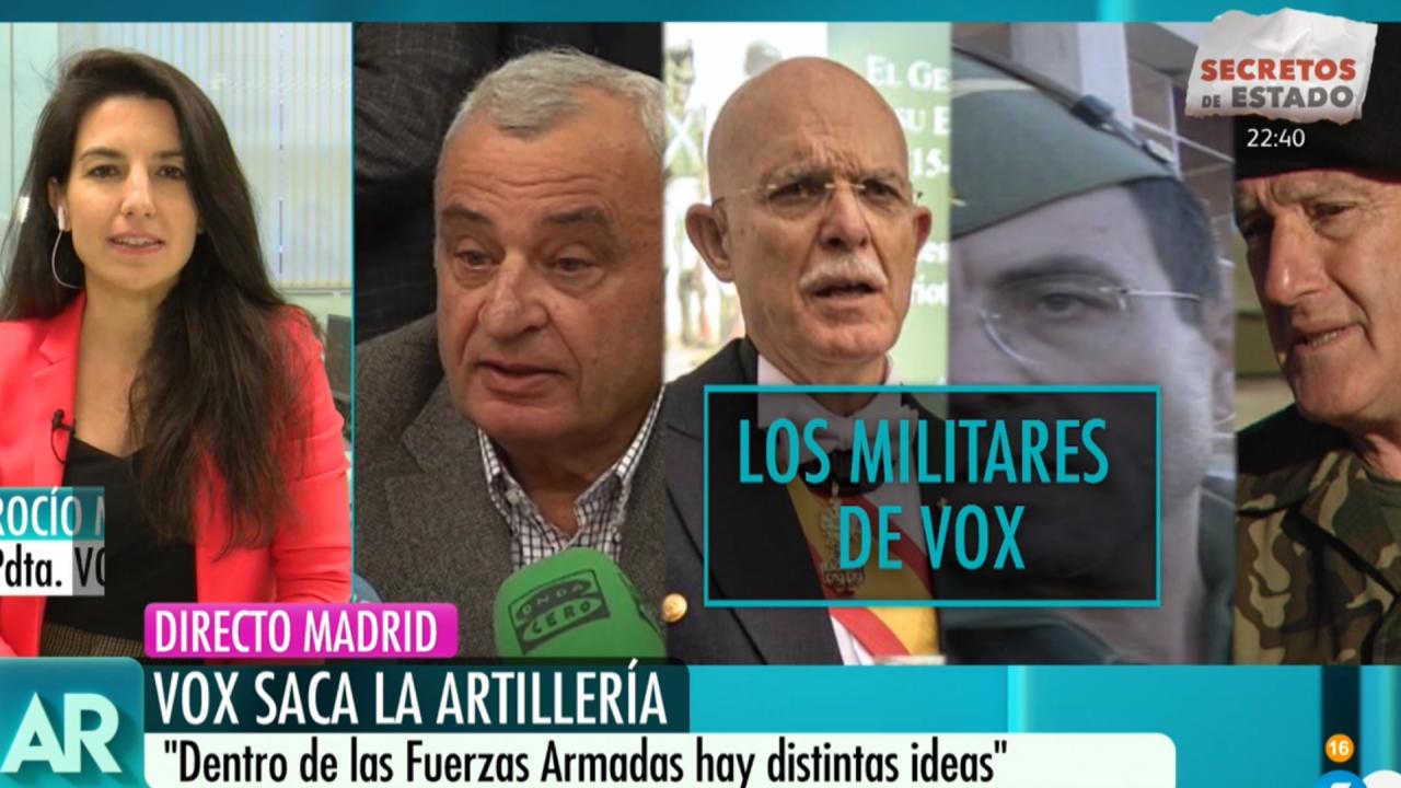 Rocío Monasterio y loas fotos de los candidatos militares de VOX en Telecinco