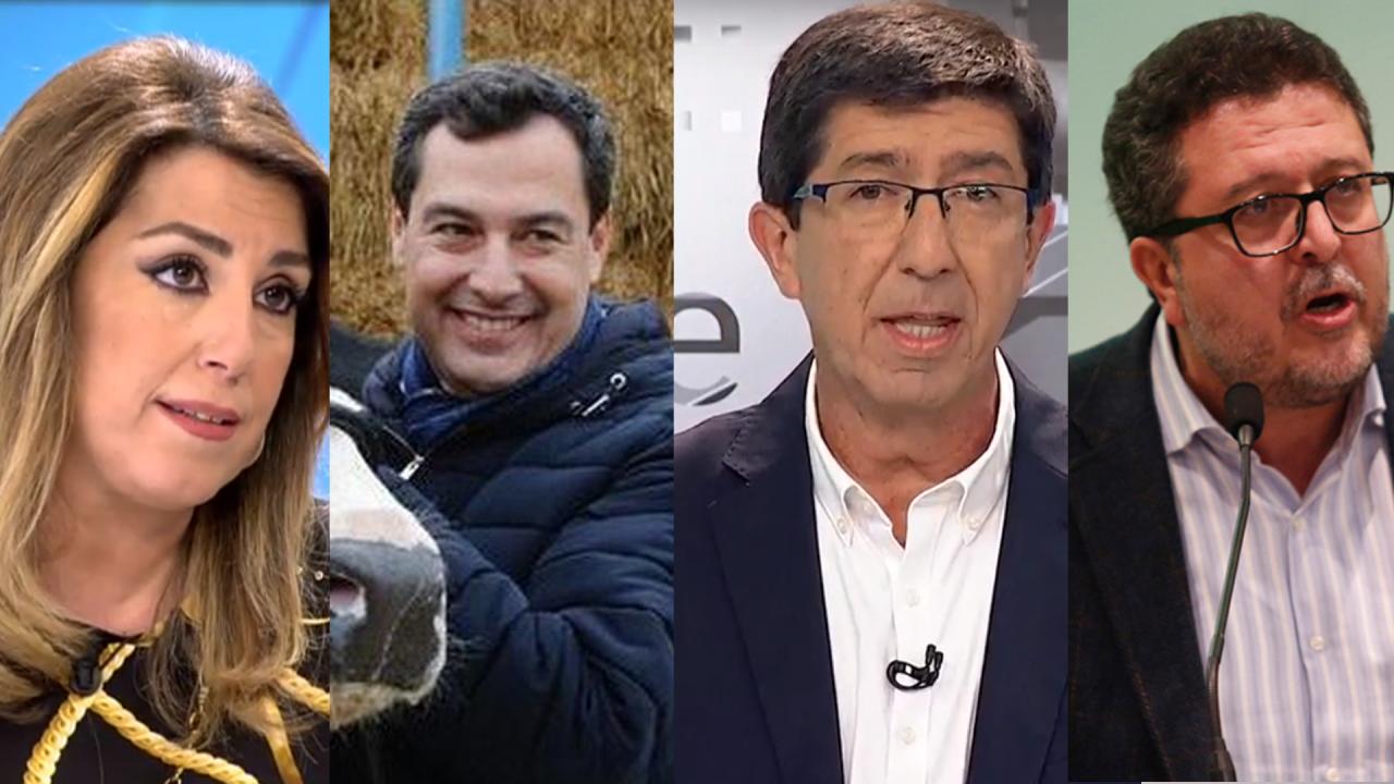 Susana Díaz, Juanma Moreno, Juan Marín y Francisco Serrano