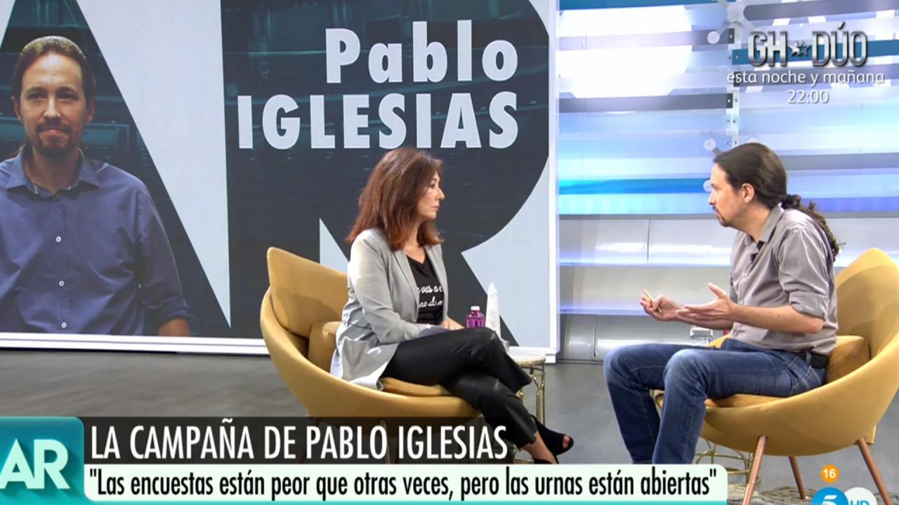 Ana Rosa y Pablo Iglesias en Telecinco