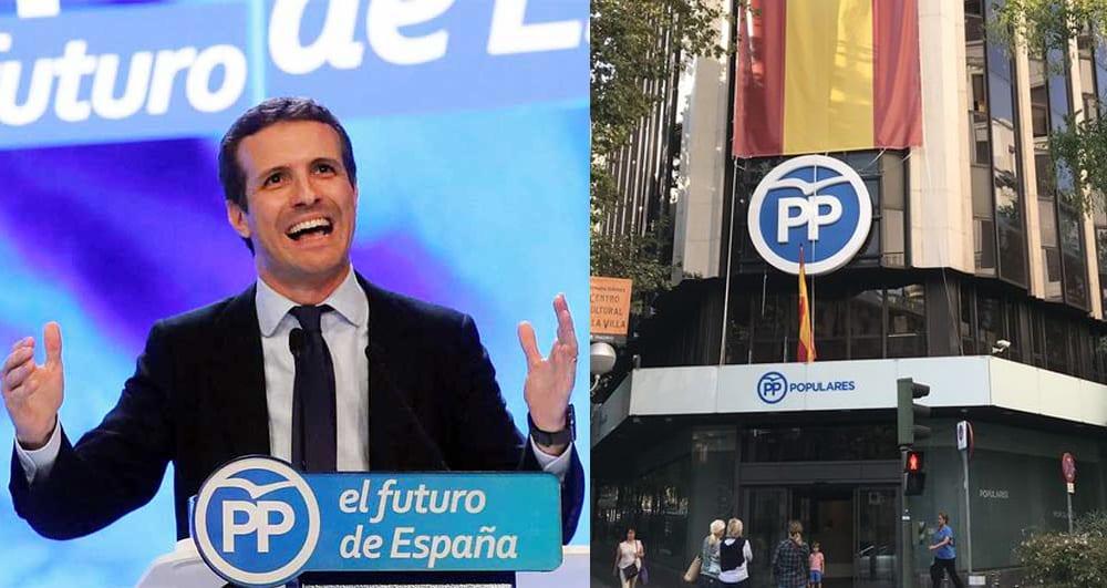 Pablo Casado y sede del PP en Génova 13