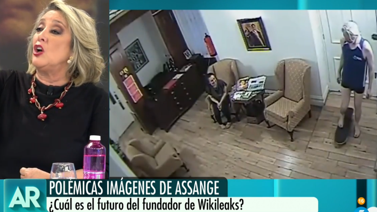 La tertuliana Esther Esteban diagnosticando el estado mental de Assange en Telecinco