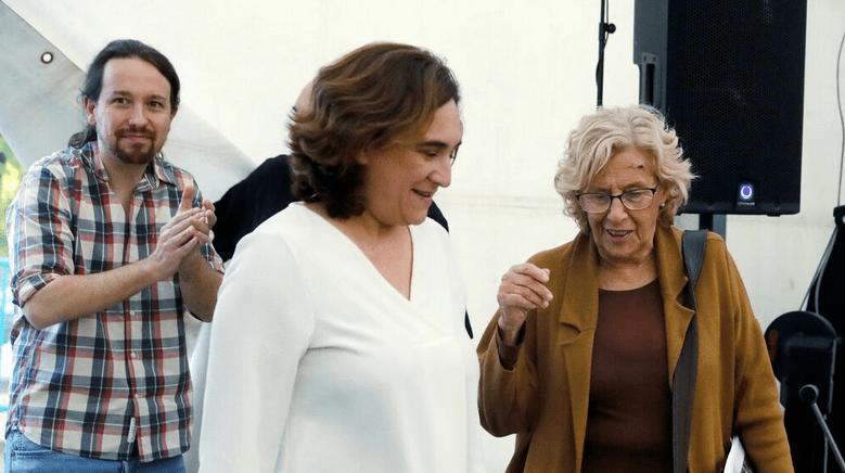 Ada Colau, Manuela Carmena y Pablo Iglesias