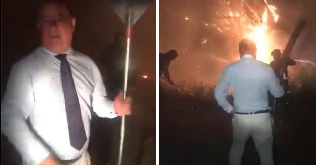 Manolo Barón (PP) haciendo de bombero