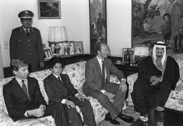 Rey Juan Carlos I junto al Rey Fahd bin Abdulaziz de Arabia Saudí
