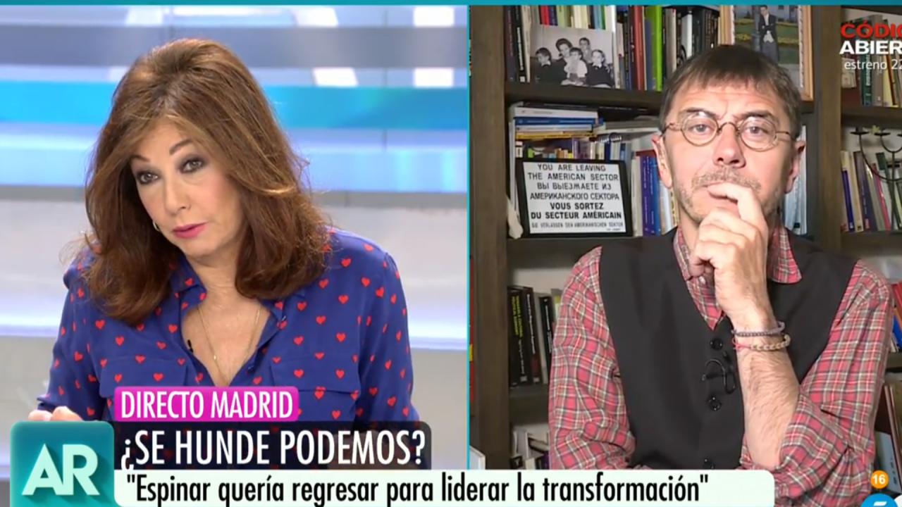 Ana Rosa Quintana y Juan Carlos Monedero en Telecinco