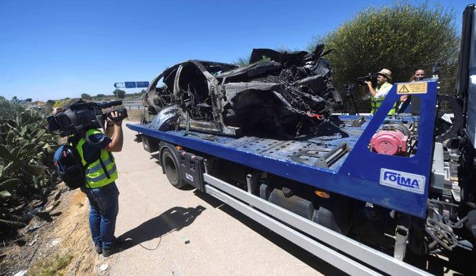 Estado en el que quedó el vehículo de José Antonio Reyes