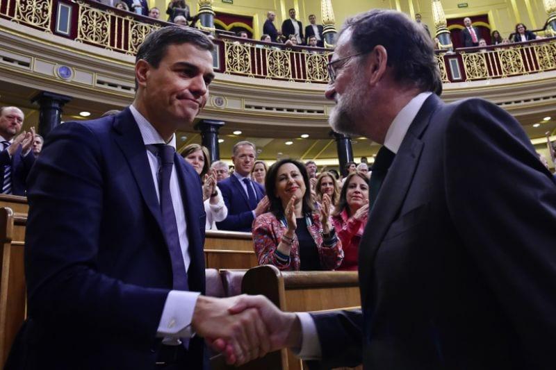 Mariano Rajoy y Pedro Sánchez, el día de la moción de censura