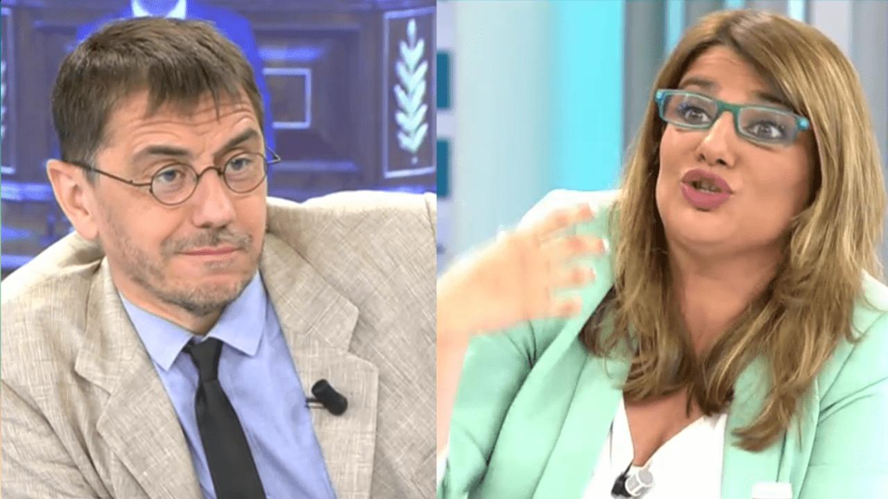 Juan Carlos Monedero y María Claver en Telecinco
