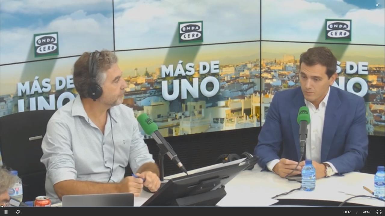 Carlos Alsina y Albert Rivera en Onda Cero (Atresmedia).