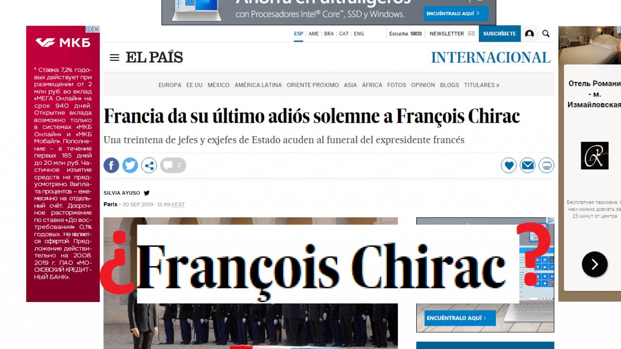 Titular erróneo de El País en el que llaman