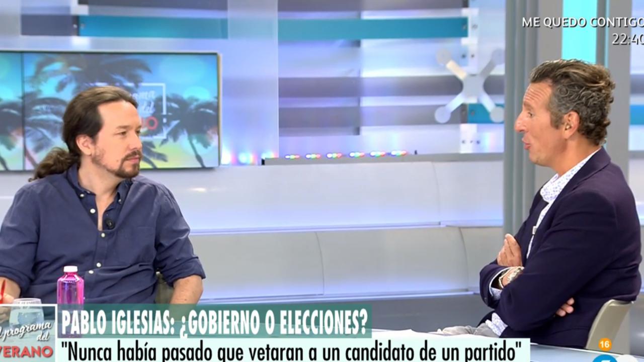 Pablo Iglesias y Joaquín Prats en Telecinco.