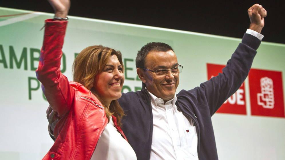 Ignacio Caraballo junto a la líder del PSOE de Andalucía, Susana Díaz