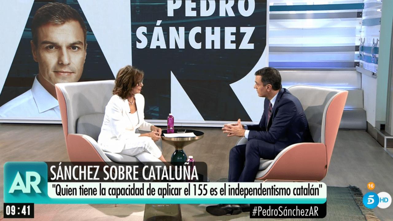Pedro Sánchez y Ana Rosa Quintana en Telecinco.