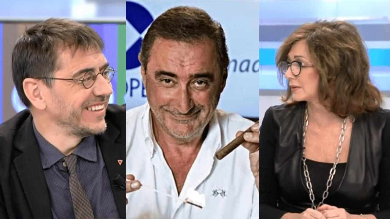 Juan Carlos Monedero, Carlos Herrera y Ana Rosa.