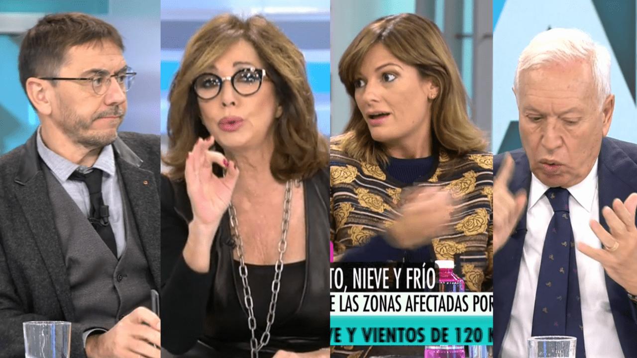 Monedero, Ana Rosa, Gómez y Margallo en Telecinco.
