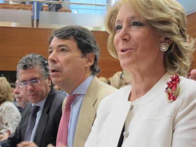 Esperanza Aguirre junto a sus ex hombres de confianza Ignacio González y Francisco Granados.