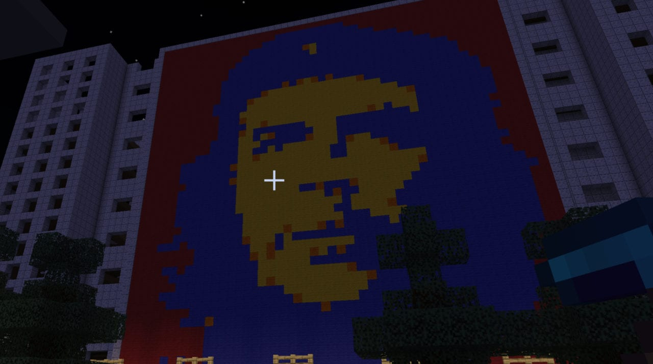 """Pixel Art del """"Che"""" construido en un servidor de Minecraft (Fuente: YouTube Dovigames)"""