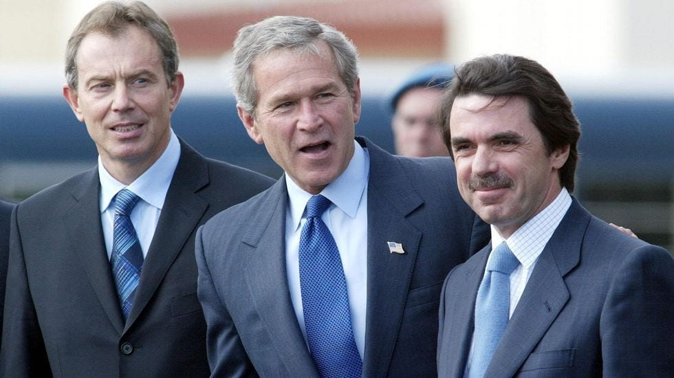 Blair, Bush y Aznar.