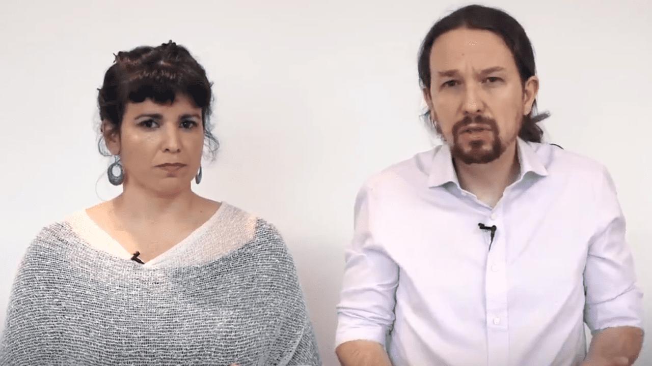 Teresa Rodríguez y Pablo Iglesias.