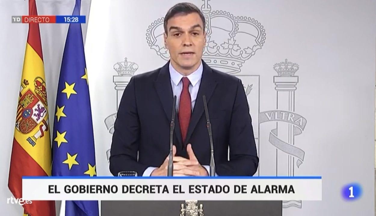 Pedro Sánchez anunciando el Estado de Alarma