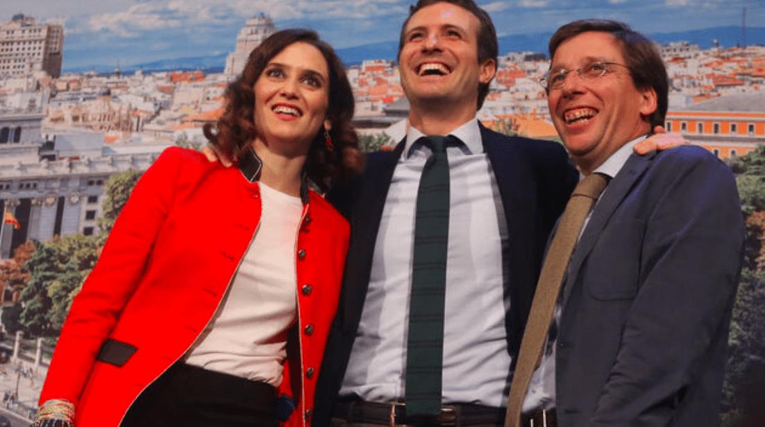 La presidenta de la Comunidad de Madrid, el líder del PP y el alcalde de Madrid