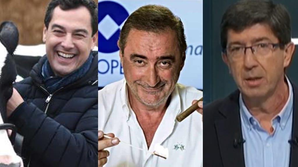 Juanma Moreno, Carlos Herrera (locutor de la COPE), y Juan Marín