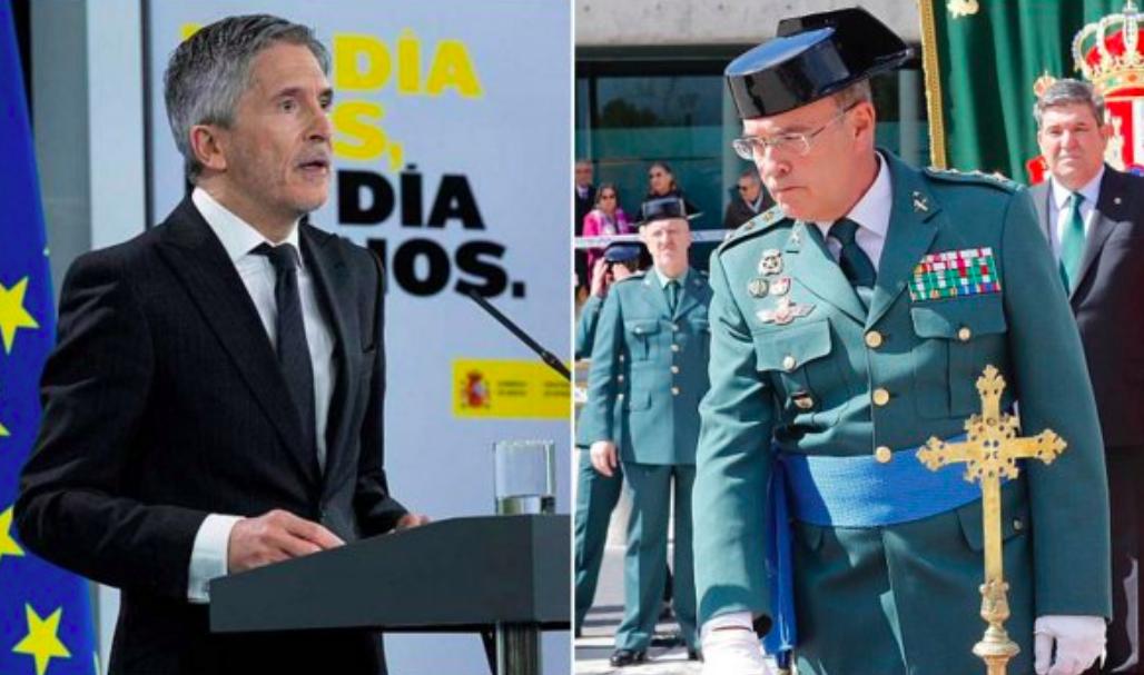 El Ministro del Interior, Fernando Grande-Marlaska, y el jefe de la Guardia Civil en Madrid, el coronel Diego Pérez de los Cobos