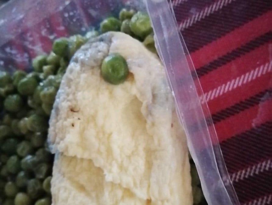 Tortilla con moho en el menú escolar.