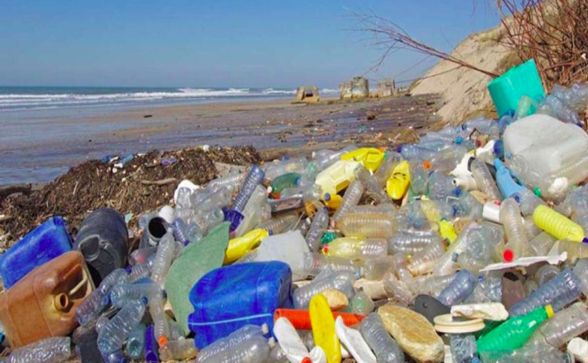 Residuos de plástico contaminando una playa