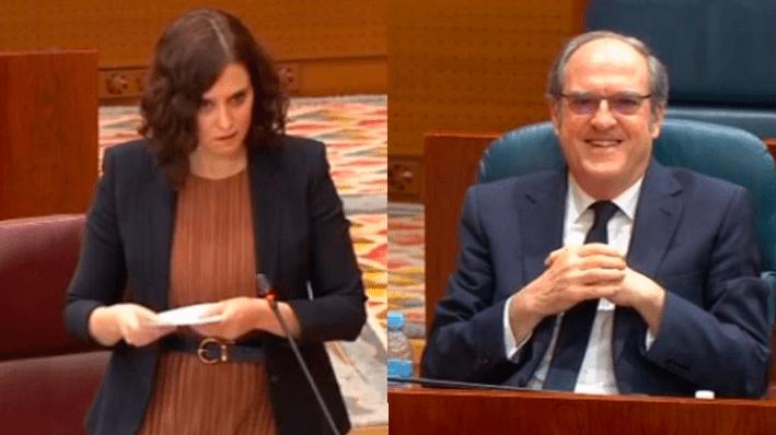 Isabel Díaz Ayuso (PP) y Ángel Gabilondo (PSOE) en la Asamblea de Madrid
