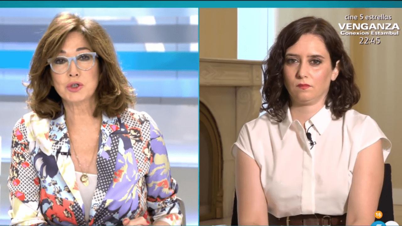Ana Rosa Quintana e Isabel Díaz Ayuso en Telecinco.