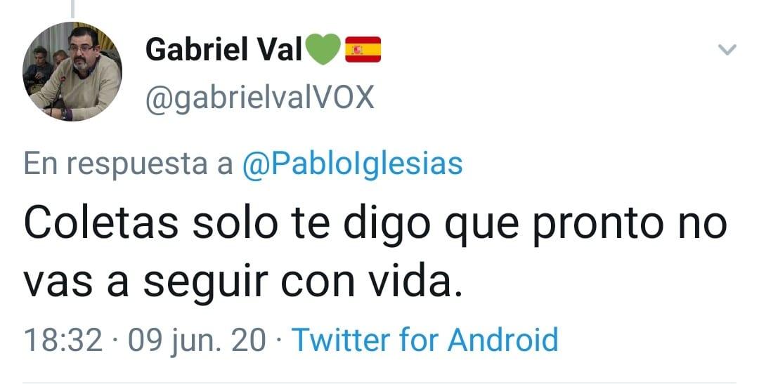 Tuit del concejal de VOX.