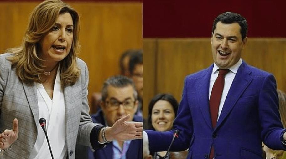 La líder de la oposición, Susana Díaz, y el presidente de la Junta de Andalucía, Juanma Moreno