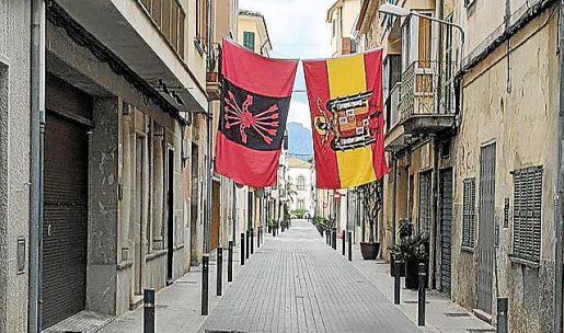 Banderas franquistas en Sa Pobla (Mallorca).