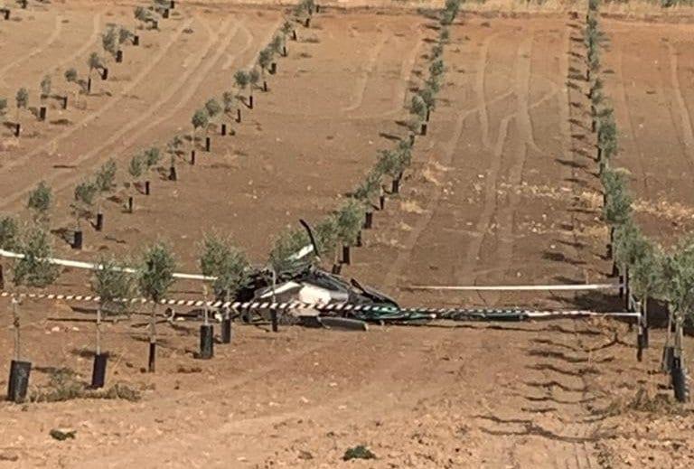 Helicóptero siniestrado en Pedrera (Sevilla).