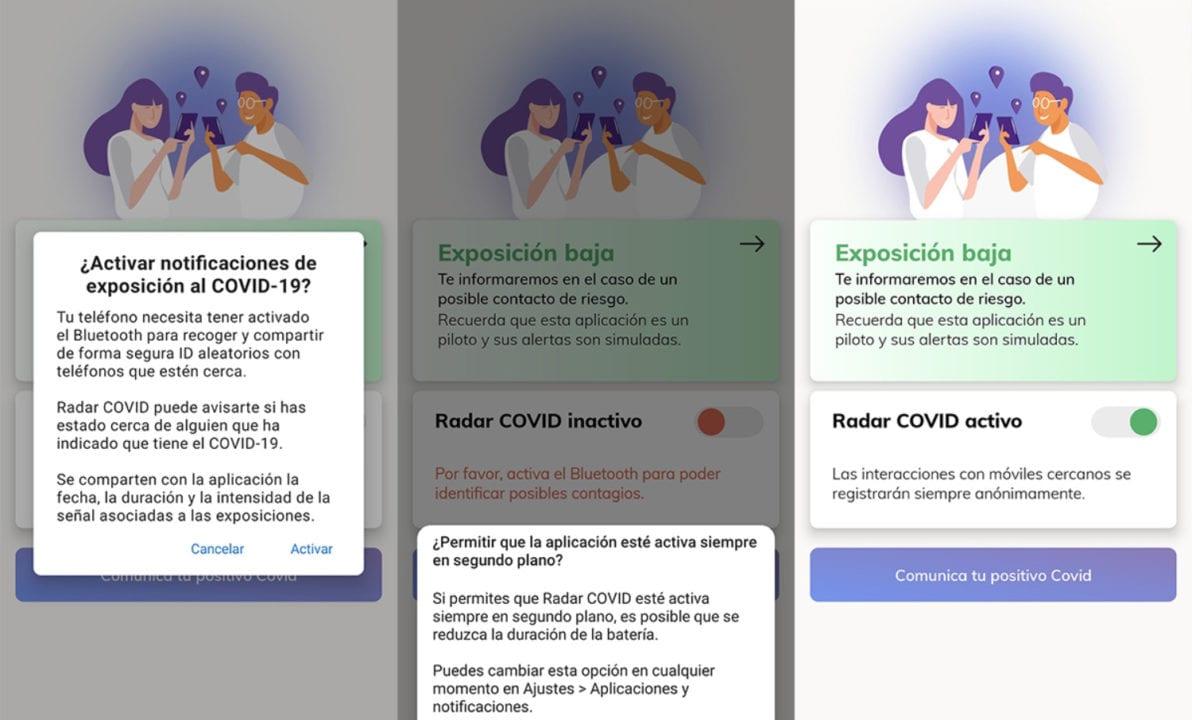 Capturas de pantalla de la aplicación Radar COVID
