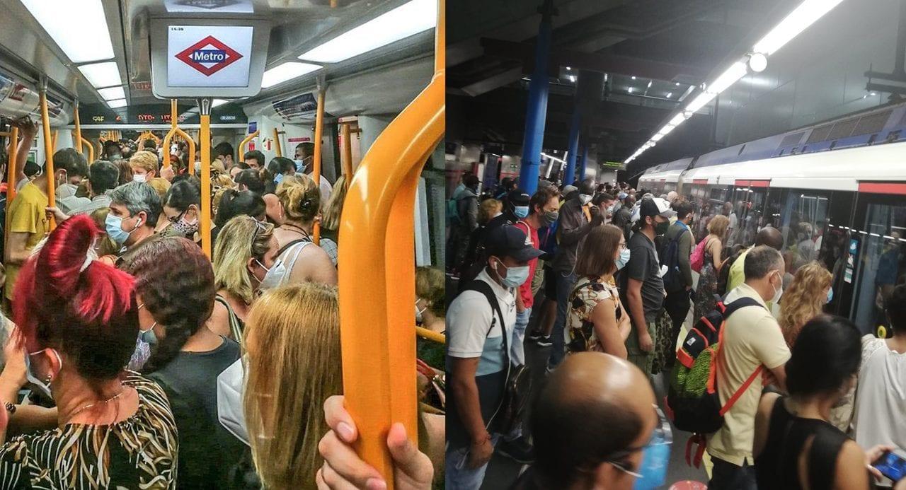 Imágenes del metro de Madrid publicadas en las redes sociales.
