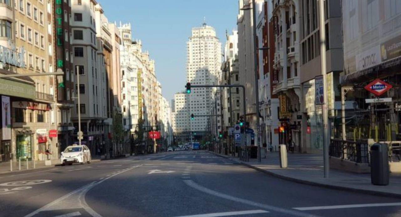 Madrid vacío por la aplicación del estado de alarma en marzo