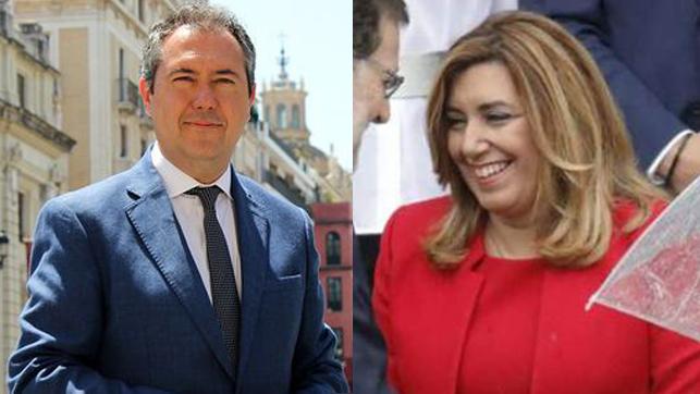 Dos de los candidatos favoritos en las primarias del PSOE-A, Juan Espadas y Susana Díaz.